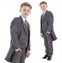 Boys Mid Grey 5 Piece Slim Fit Tail Jacket Suit